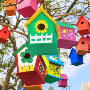 Ly Outdoor Birdhouse Kit DIY Birds House With Paint And Pen For Kids Children TE889 Bird Cages