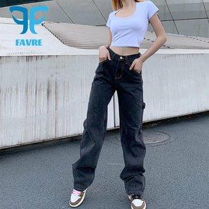 Женские джинсы Favre Широкая нога серые женщины серые женщины высокие талии уличные штаны свободные крупные карманные полнометражные брюки женские мешковатые