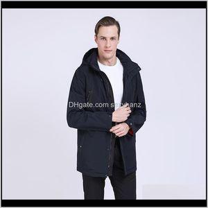 Мужские Parkas Spring Trench Мужчины Случайные мягкие пальто Мода Parka Homme Съемный капюшон Plus Size Sports Caming Куртка Colyu NQBRC