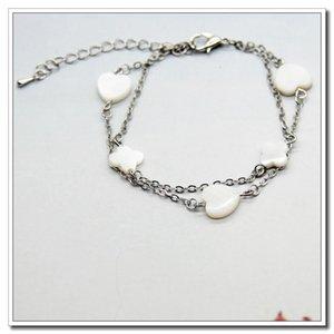 Fashion Versatile Doppio strato Love White Flower Shell Skin Bracelet Imitation Platinum4o65