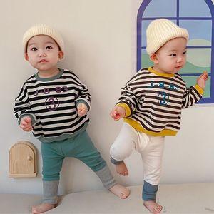 Spring New Baby Girls Sweatshirts Set Long Sleeve Tops Pants Kids Toddler Boys Pullover Stripe Sweatshirt T-shirt Clothes 210413