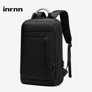 Backpack Inrnn Men Slim 15.6 Inch Laptop Casual USB Charging Daypacks Computer Waterproof Male Backpacks Black Mochila