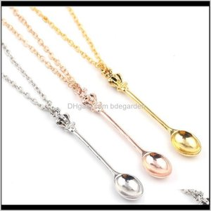 Necklaces & Pendants Drop Delivery 2021 Charm Tiny Pendant With Crown Necklace Creative Mini Long Link Jewelry Spoon Ps0795 7Yr2E