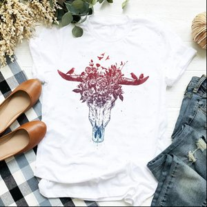 Women Lady Womens T Shirt Flower Skull Cartoon Bull Heifer Cow Cute Print Ladies Tee Clothes Female Top Graphic