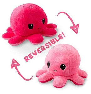 Hot Reversible Flip Octopus Stuffed Dolls Soft Double-sided Expression Plush Toy Baby Kids Gift Doll New Year Festival US stock