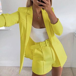 Women's Suits & Blazers Auutmn Fashion 3 Pieces Sets Women Blazer Cardigans Solid Long Sleeve Slim Femme Blaser Shorts Belts Streetwear Casu