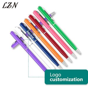 Ballpoint Pens LZN Rotating Metal Pen Exquisite Small Oil Company Office Commercial Stationery Free Print Text Logo For Promotion