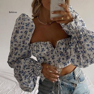 Women's Blouses & Shirts Blue Floral Print Tie Front Top And Square Collar Puff Sleeve Elegant Vintage Sexy Shirt Tops Chic