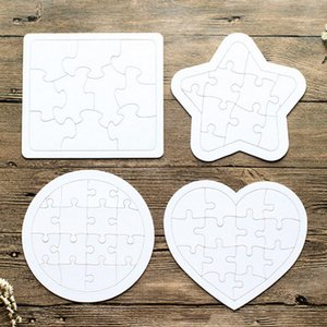 Sublimation Jigsaw paper product Blank White Puzzle 4 shapes DIY Heat Transfer Wooden toys for children toddler creative puzzles GWA8793