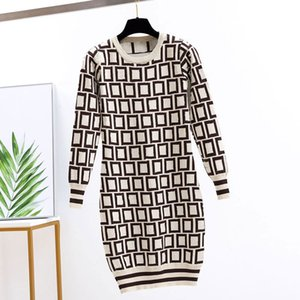 5 Colors Womens Fashion Dress Casual Letter Printing Dresses 2022 Autumn & Winter Long Knitted Shirts Girls Spring Clothes for Party Wholesale