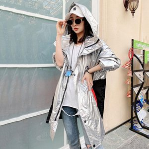 Autumn Bright Silver Purple Trench Coat Women Hooded Plus Size Windbreaker Female Harajuku Loose Outerwear Women's Coats