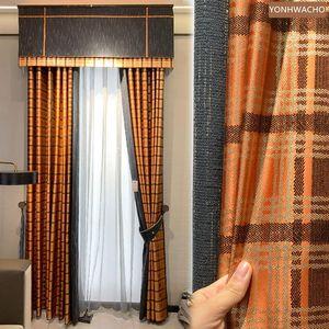 Curtain & Drapes Custom Luxury Nordic Orange Stitching Lattice High-precision Jacquard Cloth Blackout Valance Tulle Drape C844