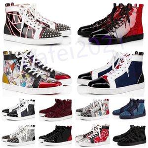 Мужские повседневные туфли Женщины открытый красный днища обуви шипованные шипы мокасины кроссовки замшевые кожаные квартиры Ttrainers jogging des chaussures a32