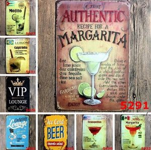 Bar Painting Mojito Cuba Cocktail Vintage Tin Signs Retro Metal Iron Plate Painting Wall Decoration for Bar Cafe Home Club Pub DWD6040