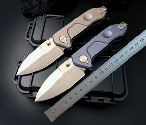 1Pcs 2021 Strong ER Tactical Fold knife D2 Satin Blade TC4 Titanium Alloy Handle Outdoor EDC Pocket Folding Knives With Plastic Box Package
