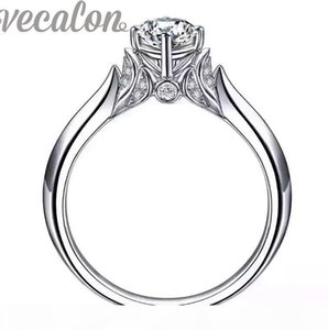 Vecalon 2016 fashion New wedding ring for women 1ct Simulated diamond Cz 925 Sterling Silver Female Engagement Band Finger ring