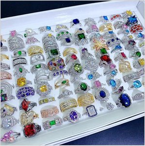 Light Luxury Crystal Zircon Stone Rings Real Gold Plate Colorful Zirconia Finger Heavy Industry Micro Pave S925 Silver Gemstone Jewelry