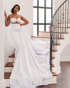 2021 Plus Size Arabic Aso Ebi Sexy Crystals Sheath Wedding Gowns Spaghetti Detachable Train Satin Bridal Dresses ZJ256