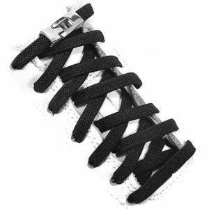 Çapraz Metal Kilit Hiçbir Kravat Ayakkabılı Düz Yürüyüş Spor Elastik Ayakkabılı Çocuk Yetişkin Evrensel Sneakers Tembel Bağcıklar