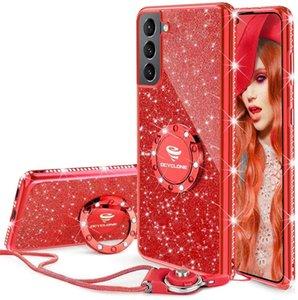 Kadın Kız Glitter Sevimli Telefon Kılıfları Yüzük Kickstand ile, Bling Elmas Rhinestone Tampon Koruyucu Yumuşak Kılıf iphone 13 12 11 Pro Galaxy Samsung S21 S20 Ultra DHL