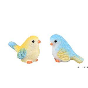 Cartoon Mini Bird Miniature Parrot Figurine Gardening Plant Resin Craft Ornament Gift Cacti Succulent Potted Decor Accessory Fairy EWD10368