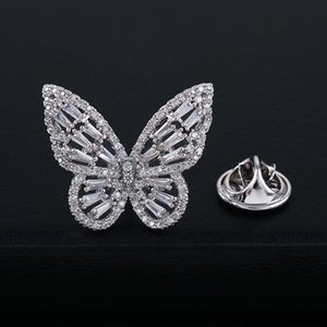 Korean Pink Crystal Butterfly Brooch Collar Pin Micro Inlaid Zircon Plated with Real Gold