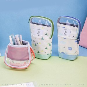 Multifunction Zipper Pencil Bag Can Become Pen Stand Light Soft Case School Stationery Home Study Holder 66791 Cases