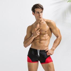 Verão Sexy Juventude Deenyt Splicing Side Bolso Men's Beach Natação Troncos