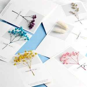 Flowers Greeting Cards Gypsophila dried flowers handwritten blessing greeting card birthday gift card wedding invitations EWA5022
