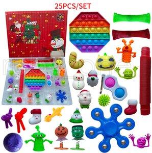 Christmas Advent Calendar Fidget Toy 25 Days Countdown Blind Mystery Box Sensory Finger Toys Kids Push Bubbles Party Favor 25pcs set RRA4408