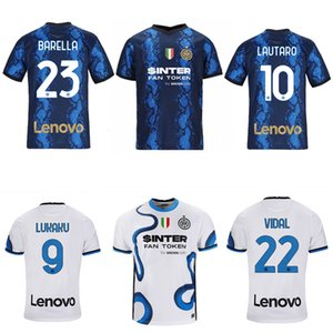 2021-2022 Inter Milano Home and Away Jersey Hayranları Lukaku Vidal Lautaro Eriksen Alexis 21 22 Futbol erkek T-Shirt Soccer