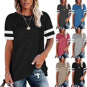 European and American foreign trade cross-border new Amazon hot style striped round neck casual short-sleeved t-shirt women's top