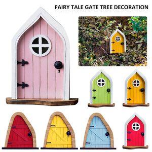 Fairys Tale House Miniatures Fairy Figurine Dwarf Door Tree Decoration Art Garden Decor Outdoor Sculpture Miniature Window Doors