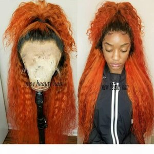 Hotselling 360 Frontal Long loose curly Ombre orange color Full Hair Wigs Synthetic Lace Front Wig For Women