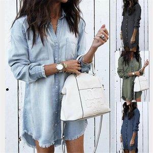 Women's Blouses & Shirts 2021 Fashion Women Denim Shirt Vintage Blue Jean Casual Long Sleeve Ladies Tops Blouse Femme