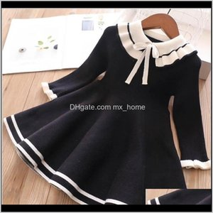 Clothing Baby, & Maternity Drop Delivery 2021 Baby Sweater Dress Autumn Winter Knitting Wool Black Pink Bow Girls Princess Dresses Cute Kids