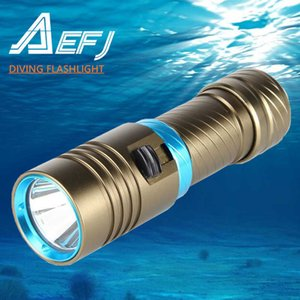 XM-L2 Waterproof Dive Underwater 80 Meter LED Diving Flashlight Torches yellow Lamp Light Camping Lanterna With Stepless dimming 210608