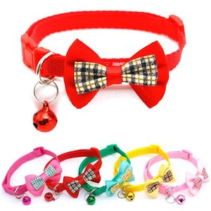 Adjustable Cat Collar Kitten Necklace Safety Buckle Neck Strap Belt For Cat With Bell Pet Collar Checkered Bow