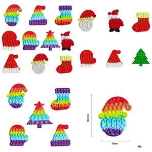 14.5CM sensory fidget poo-its toys kids christmas gift rainbow Xmas tree stocking santa clause hat gloves shape push bubble desktop finger puzzle board game G946Z0C