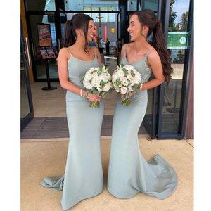Green Bridesmaids Dresses For Women Spaghetti Lace Tea Length Mermaid Bridesmaids Dresses Damas De Honor Vestidos