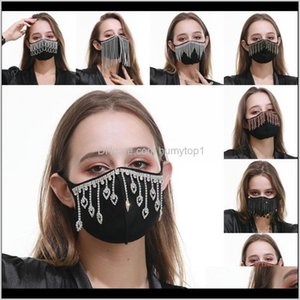 Cycling Caps Masks Black Protection Reusable Mascarilla Cotton Cloth Face Mask Dustproof Water Drop Tassels Mouth Respirator Breathabl Nw1Yy