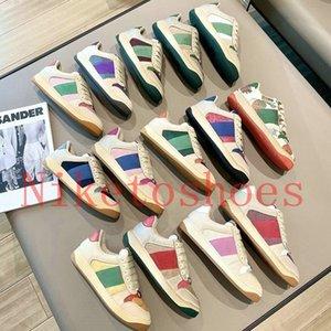 Sneaker Sneaker Beige Mantequilla Zapatos de cuero sucio Italia Vintage Rojo y verde Stripte Web Stripe Diseñadores Zapatillas de deporte Bi-Color Suela de goma Classic Casual Shoe