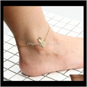 Jewelry Drop Delivery 2021 Lovely Pine Ankle Bracelets Gold Tone Anklet Chain Foot Chains Barefoot Yoga Dancing Sandals Gothic Girls Anklets