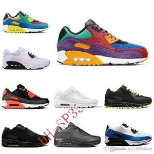 클래식 도착 남성 여성 쿠션 90 필수 통기성 신발 스포츠 야외 블랙 레드 화이트 그레이 핑크 스니커즈 HD-K9915