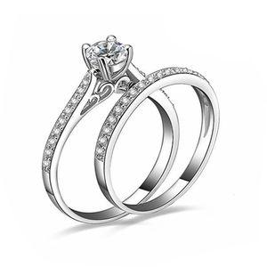 Rings Arrival Fashion Women Engagement Wedding 2Pcs Ring Set Cubic Zirconia White Silve
