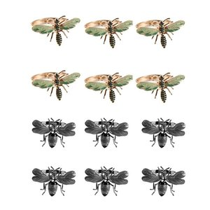 Pcs The Napkin Buckle Ring Alloy Drip Diamond Paper Towels, 6 Insect Dragonfly & Bee Rings