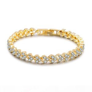 Luxury Austria Crystal Bracelets gold Silver rose gold Charms Bracelet with Zircon Diamond Roman Tennis Bracelet