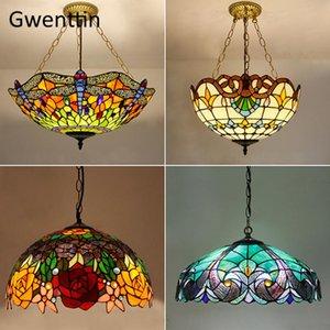 Mediterrâneo tiffany manchado pingente luzes vintage lâmpada pendurada para sala de jantar cozinha luminárias de luz casa decoração lâmpadas