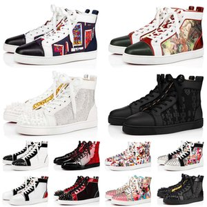 Brand Men Women Red Bottom Dress Designer Shoes Fashion Platform Sneakers Black Suede Studded Spikes White Loafers Luxury Flat Heels Trainers Size 36-47 Off