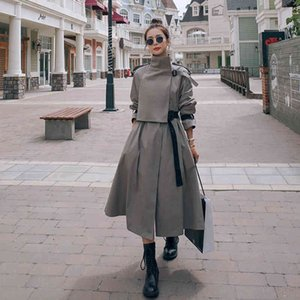 2021 Long Trench Coat Womens Korean Clothes High Quality Slim Fashion Windbreaker Female Autumn Stand Thin Belt Ropa Femenina
